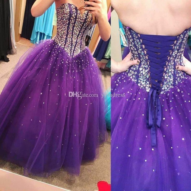 Purple Quinceanera Dresses 2020 Modest Masquerade Ball Gown Prom Dress Sweet 16 Girls Birthday Party Beads Crystals Lace Up