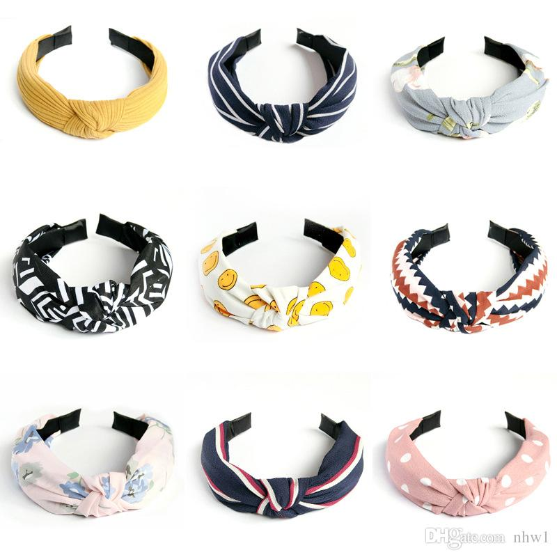 Hot Sale Top Knot Hairband Headbands for Women Cloth Flowers Striped Smile Head Wrap Headwear for Girls Hair Accessories for Women