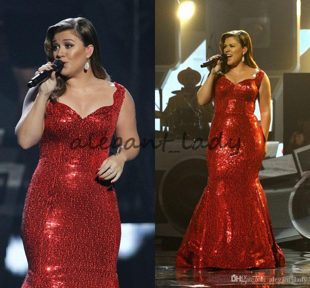 Sparkly Red Sequins Mermaid Prom Formal Dresses 2018 Kelly Clarkson Plus  Size Sweetheart Full Length Red Carpet Celebrity Dress Beautiful Prom Dress  ...