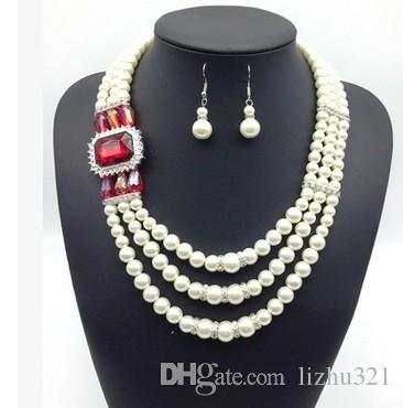 замечательный алмазный Кристалл свадебный комплект ожерелье серьги 15.5)dghfhg