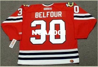 Homens # 30 Ed Belfour Chicago Blackhawks 1994 CCM Início Hockey Jersey ou personalizado qualquer nome ou número retro Jersey