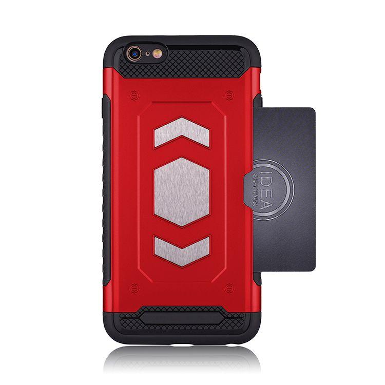 Custodia magnetica tascabile Armor Card per iPhone 6 6s 5s 5SE 6 plus Custodia per armatura auto ibrida in silicone rigida per PC