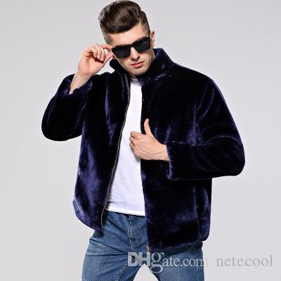 Abrigo de piel de invierno cálido para hombre Chaqueta de abrigo de piel sintética gruesa y cálida delgada Cuello mandarín Café Parka negra Abrigo de piel de invierno nuevo para hombre Venta caliente