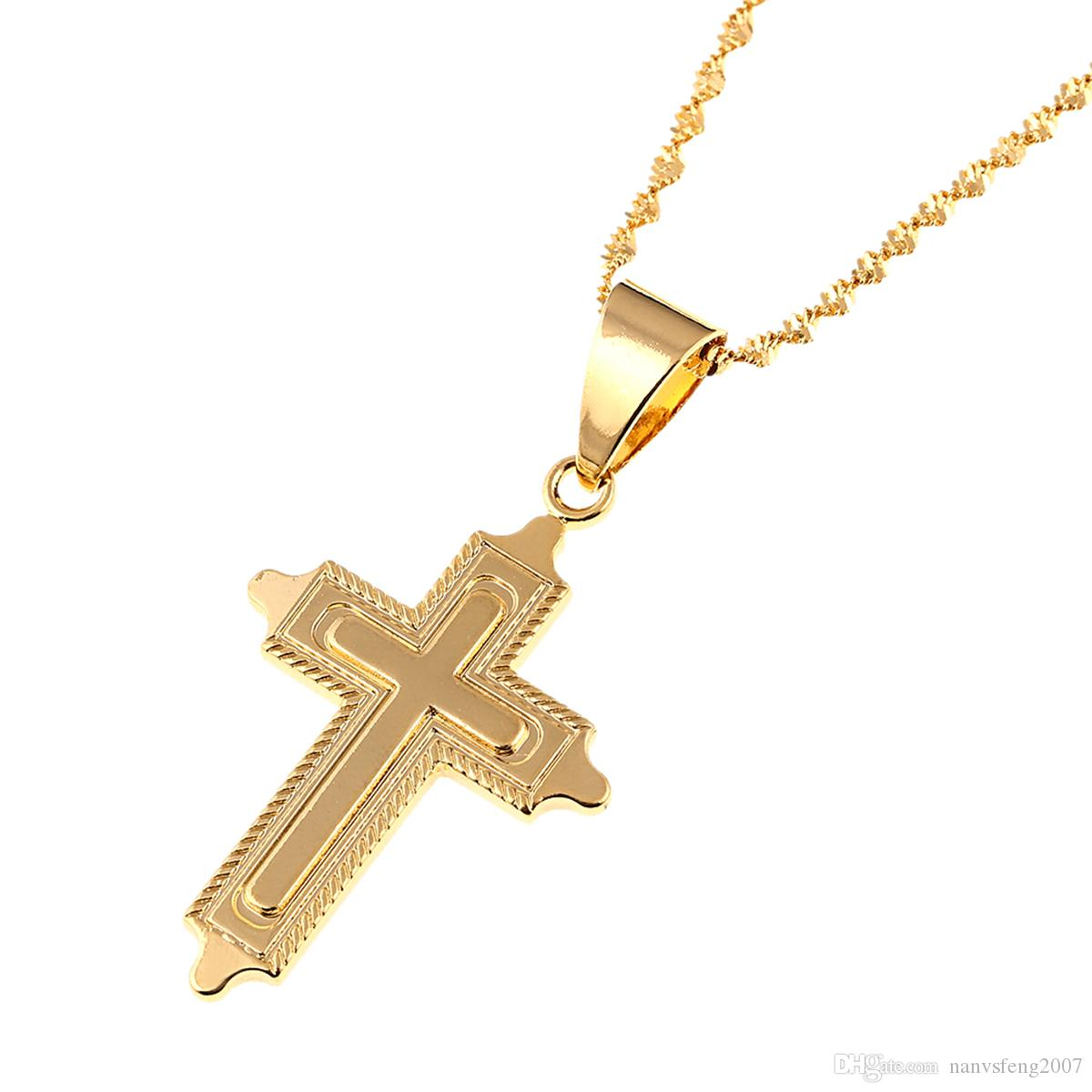 Gold Plated Cross Jesus Christ Cross Pendant Necklace Jewelry