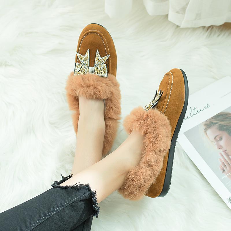 Bottes d'hiver en daim pour femmes, bottines pour femmes, ainsi que de chaussures en velours et pois