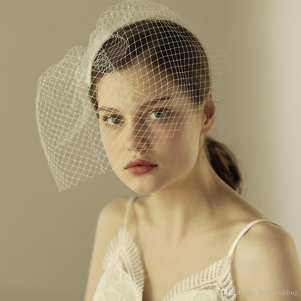 2018 Vintage Bridal Veils Face Blusher Wedding Hair Pieces One Layer Short Bridal Headpieces Wedding Veil Birdcage Ivory Bw V603 Small Birdcage Veil