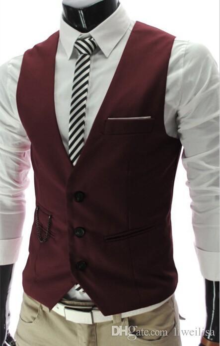 vin rouge Gilets Pour Hommes Slim Fit Hommes Costume Gilet Mâle Gilet Gilet Homme Casual Sans Manches Formelle D'affaires Veste