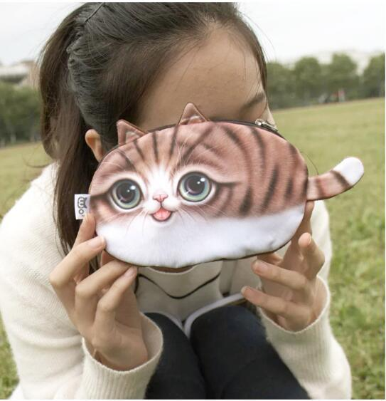 Linda del gato 3D de dibujos animados de animales / caja del monedero la cara del perro bolso de la moneda Monedero Cambio Cambio bolsillo monedero señoras de mano de obra