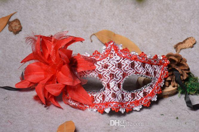 Good Venetian Face Mask Fashion Flower Crystal Rhinestones Decor Venetian Lace Face Mask for Halloween Masquerade Costume Party