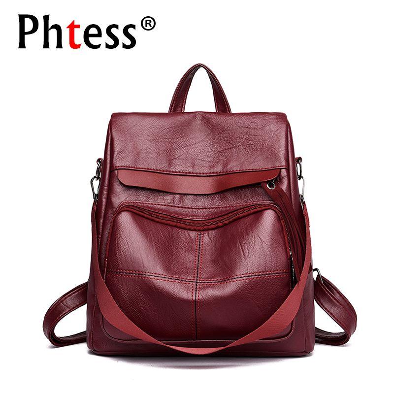 2018 Female Multifunction Backpacks Pu Leather Travel Bagpack Ladies Sac a Dos Preppy Style Back Pack School Female Rucksacks