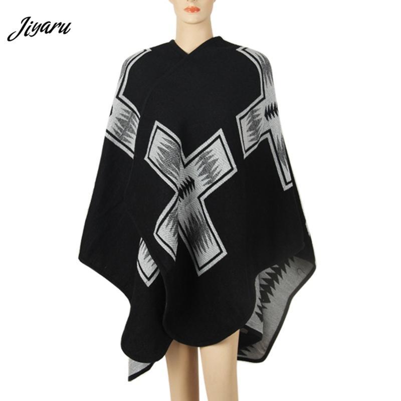Ladies Fashion Shirts Female Casual Shawl Women Loose Poncho Women Cloak Ladies Casual Loose Poncho Female Clothing Black/Red
