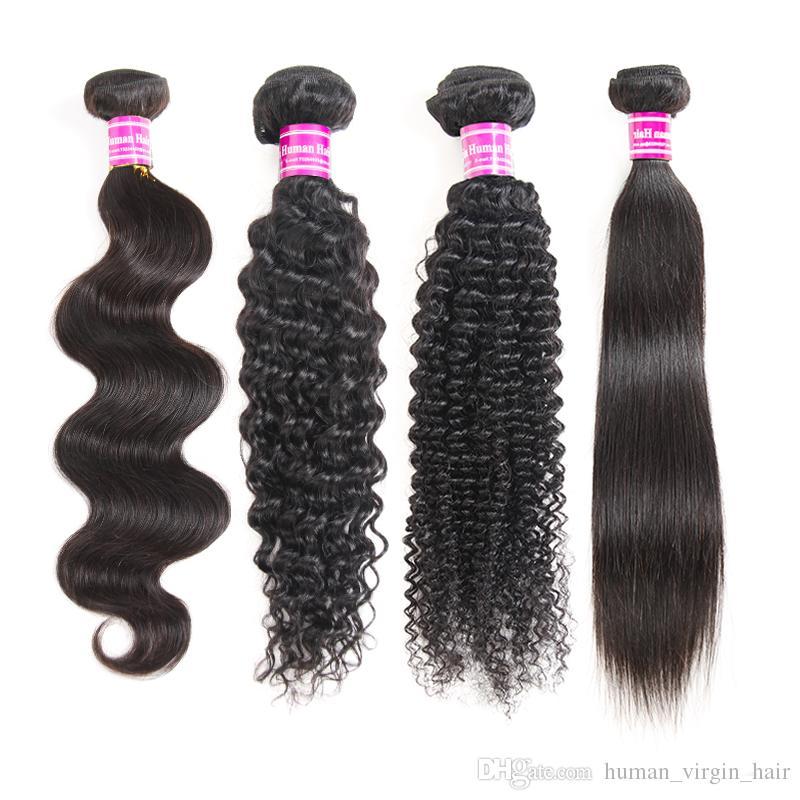 Brazilian Straight Virgin Human Hair Bundles Peruvian Deep Water wave Kinky Curly Remy Hair Extensions wet and wavy human hair Weaves