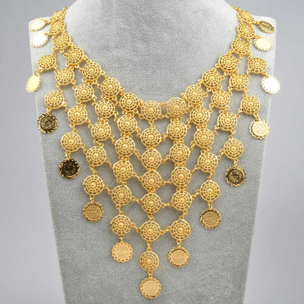 Gold Color Arab Vintage 46cm Coin Big Necklaces for Women Middle Eastern Arabian Wedding Jewelry Gifts #J0836