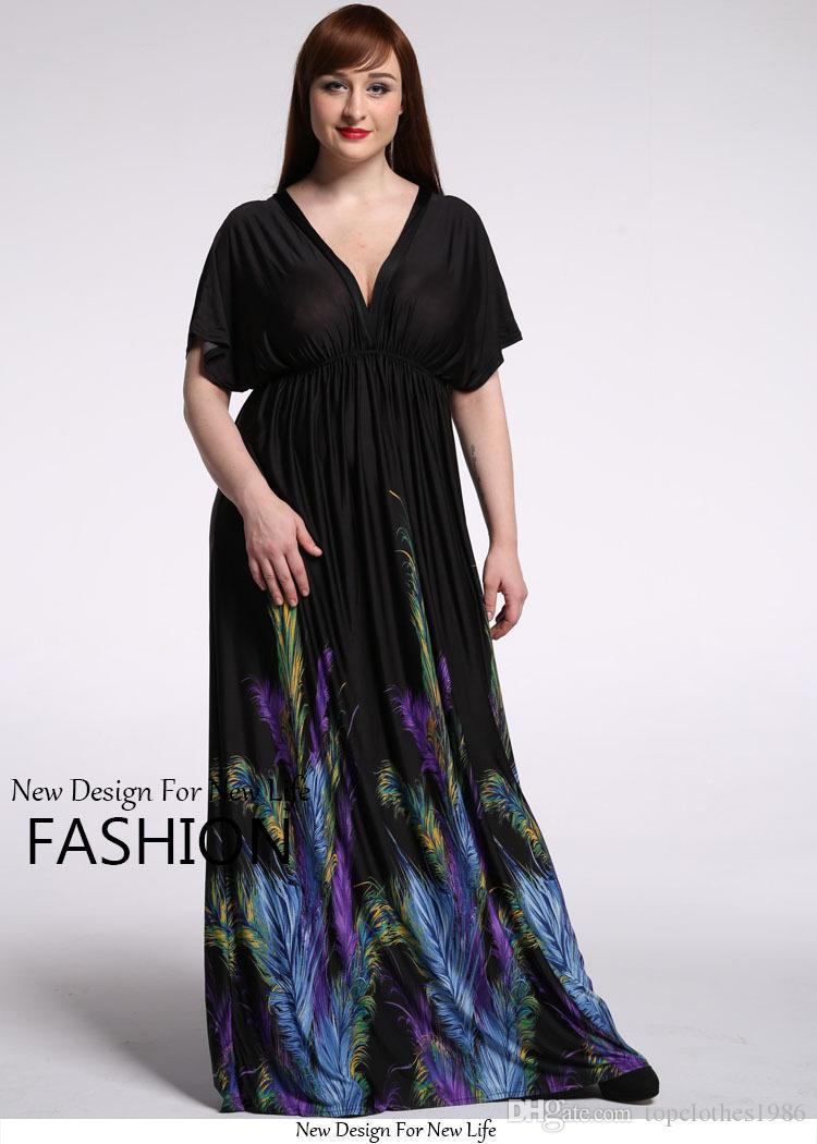 2018New kadın Artı Boyutu Elbiseler 7XL 6XL 5XL 4XL 3XL-XL Moda Bohemian Elbise V Yaka yarasa kollu Tüy baskılı zarif Seksi Plaj elbise