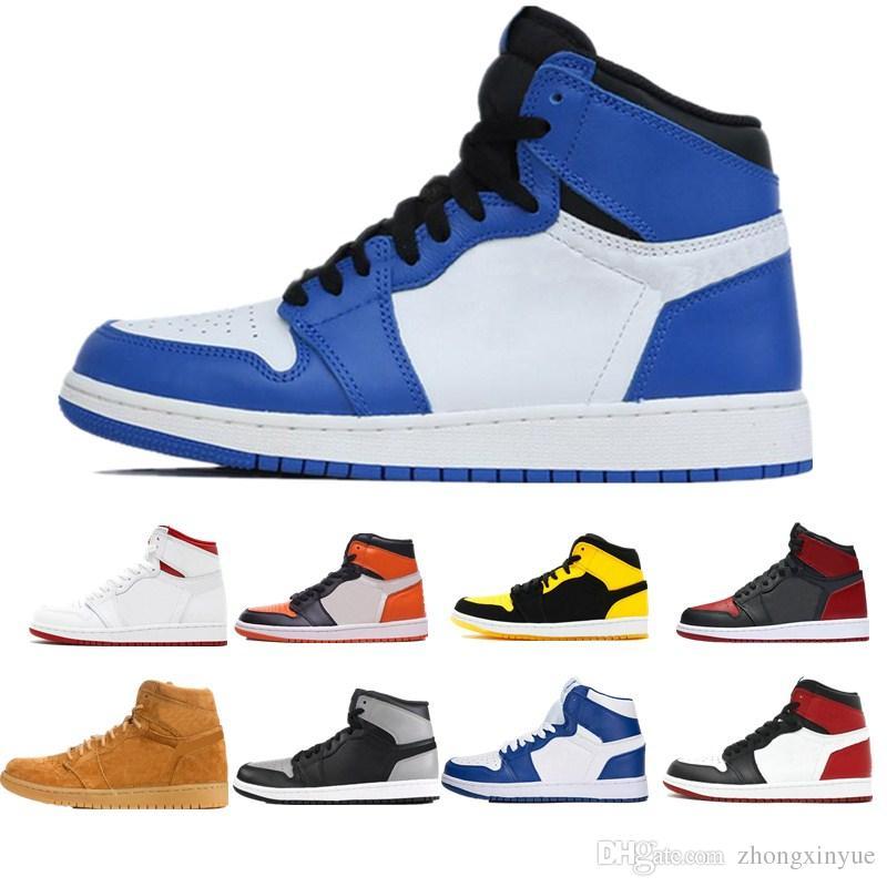 Blé 1 Brisé 1s Hommes Chaussures de basket-ball Noir Blanc Ombre Camo Brisé Royal Blue Royal Game Chicago Fragment Sport Sneaker