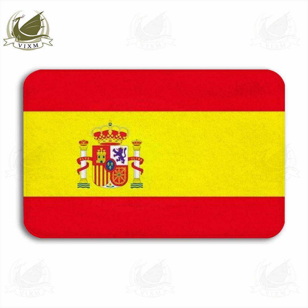 Vixm Spanish Flag With Emblem On White Background Welcome Door Mat Rugs Flannel Anti-slip Entrance Indoor Kitchen Bath Carpet