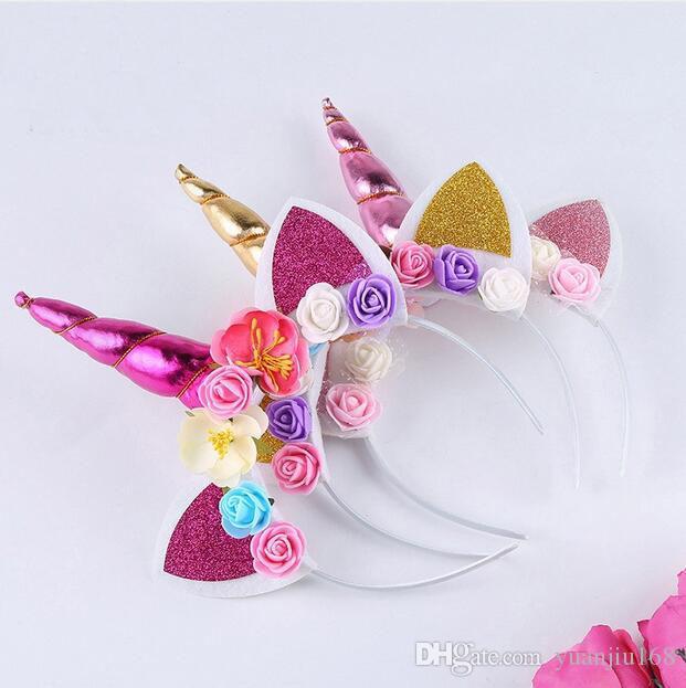 Unicorn Headband Kids Glitter Unicorn Horns DIY Hairband Xmas Party Gifts US