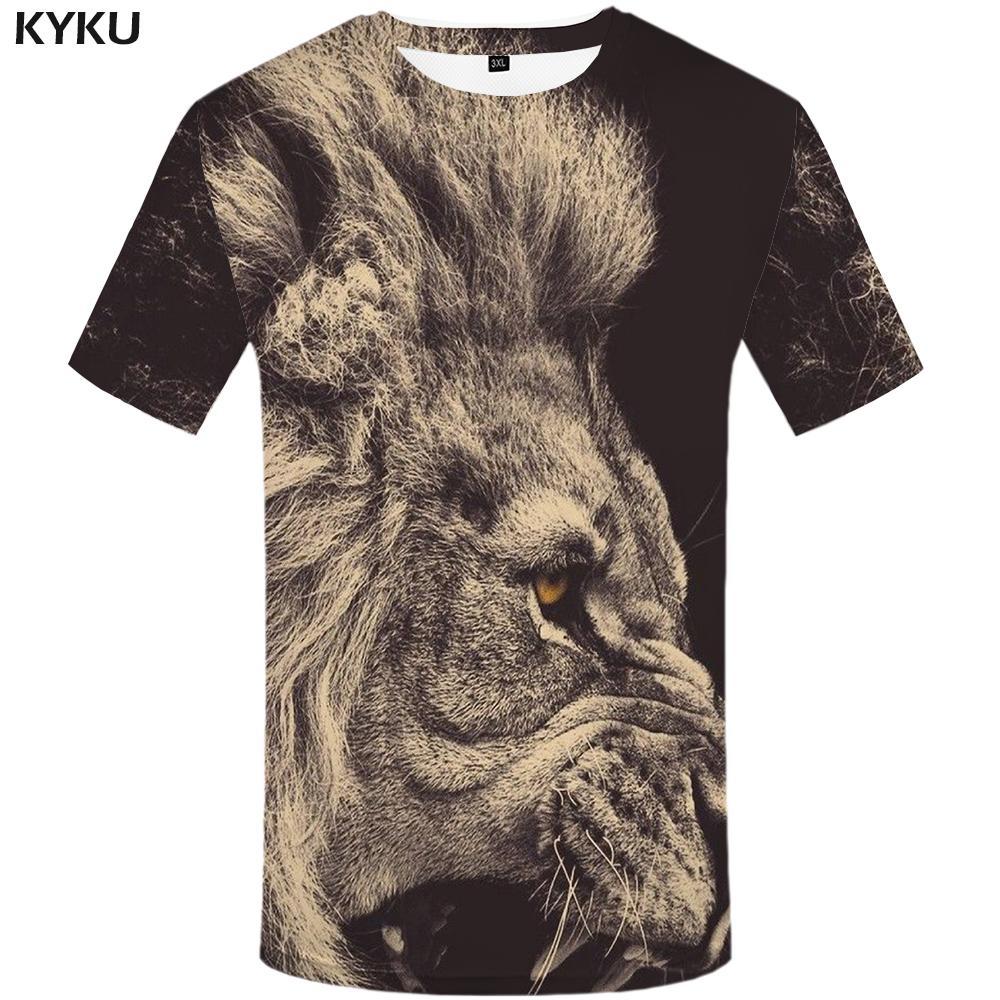 KYKU Lion T shirt Animal Plus Size Design Clothes T-shirt Tshirt Clothing Men Mens Hip hop High Quality Homme