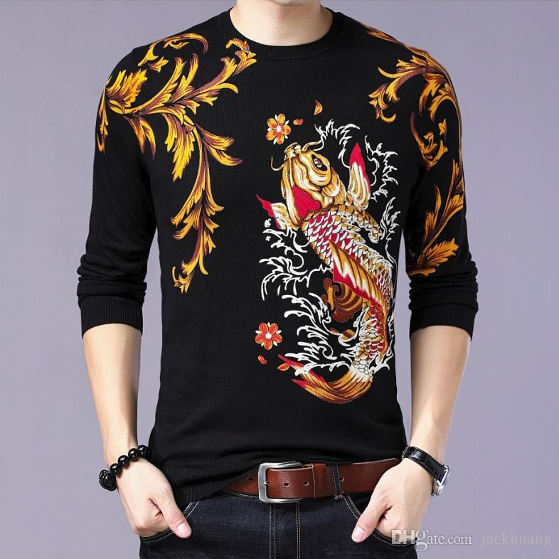 Autumn Spring Mens Thin Sweater Carp Fish Floral Print Pullover Jumpers Men's Knitted Cotton Eagle Pattern Tops Shirt Sweater