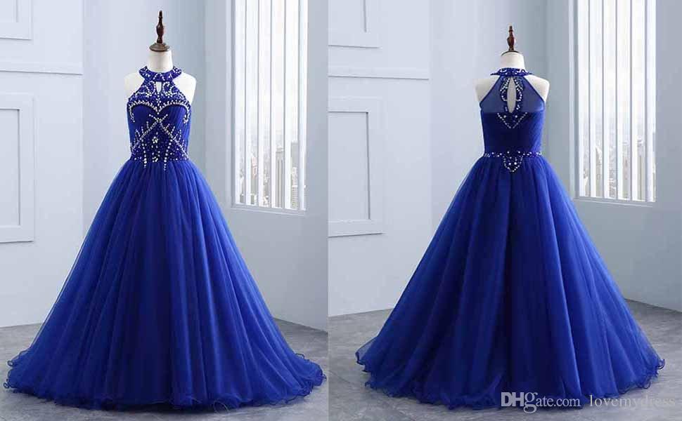 Kraliyet Mavi Halter Kızlar Pageant Elbiseler Ucuz Uzun 2018 Lüks Kristal Rhinestones Boncuklu Bir çizgi Tül Keyhole Geri Çiçek Kız Elbise törenlerinde