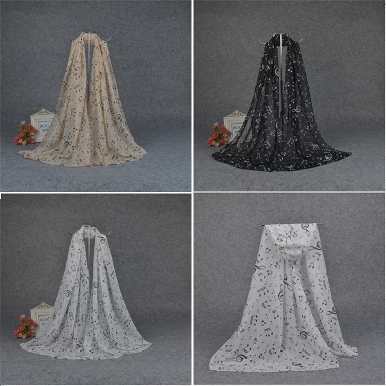 Mujer Pañuelos de gasa notas musicales felices bufandas alta calidad imprimió la bufanda 3 colores mantón de la bufanda del mantón niño T5C038