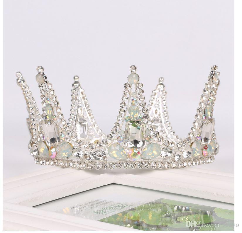 Chapeaux de mariée, chapeaux de mariage de couronne, couronne de cercle d'argent, accessoires de robe de mariée de diamant de couronne de mariée