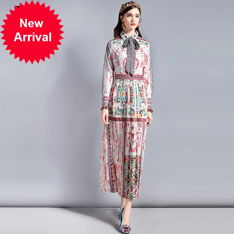 Spring Fashion Runway Designer Dress Women's Long sleeve Bow Collar Retro Art Printed Vintage Long Dress