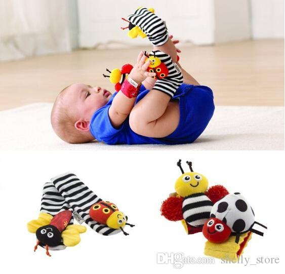 Lamaze Sock Baby Wrist Rattle and Foot Socks Bee Plush Toy Toddler Infant Toys (1set=2pcs wrist+2pcs socks)