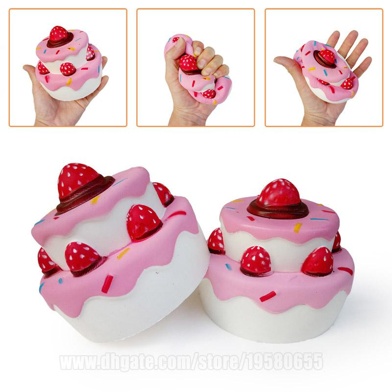 Двойной слой рукой Squishies торт большой мягкий клубничный замедлить рост большой Джамбо телефон ремешок Бесплатная доставка DHL SQU067
