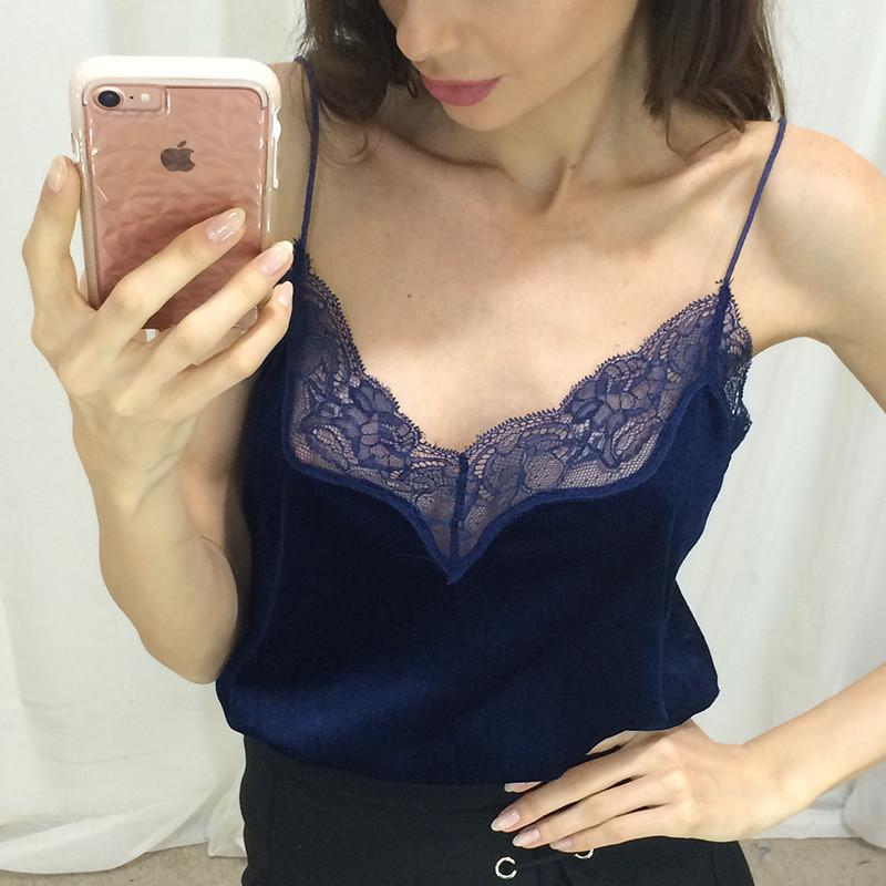 New sexy female t-shirt lace camisoles top female lotus leaf splice halter t-shirts for women crop top 2018