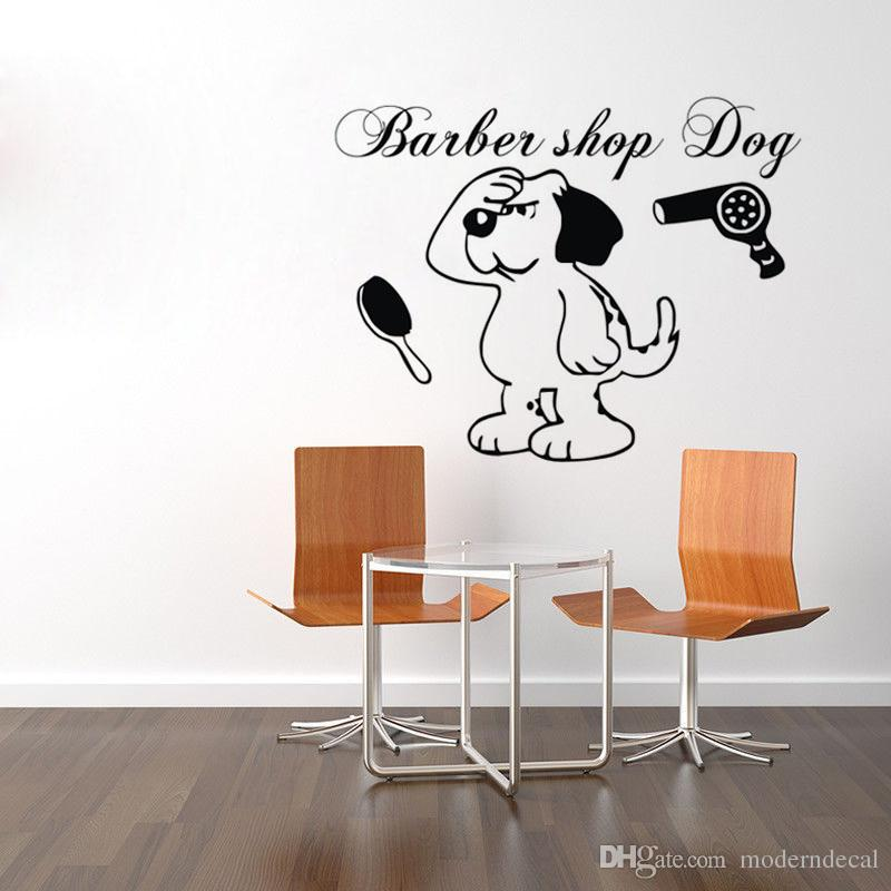 Barber Shop Dog Wall Stickers Decoration Vinyl Art Decals Posters On The Wall Animals Wallstickers