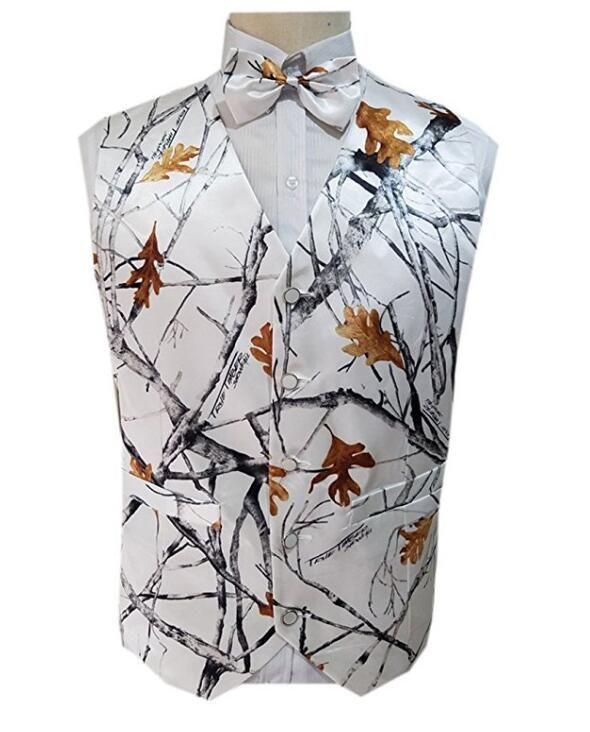 2021 Blanc Camo Imprimé Gilet Gilets pour Mariage Casual Camouflage Slim Fit Fit Mens Robe de taille 2 pièces (gilet + arc) sur mesure
