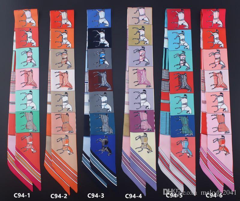 5x88 CM Satin Cheval Écharpes 2018 Chaud Petit Sergé Imitation Foulards En Soie De Mode Tête Bande Écharpe Sac À Main Décoration En Gros
