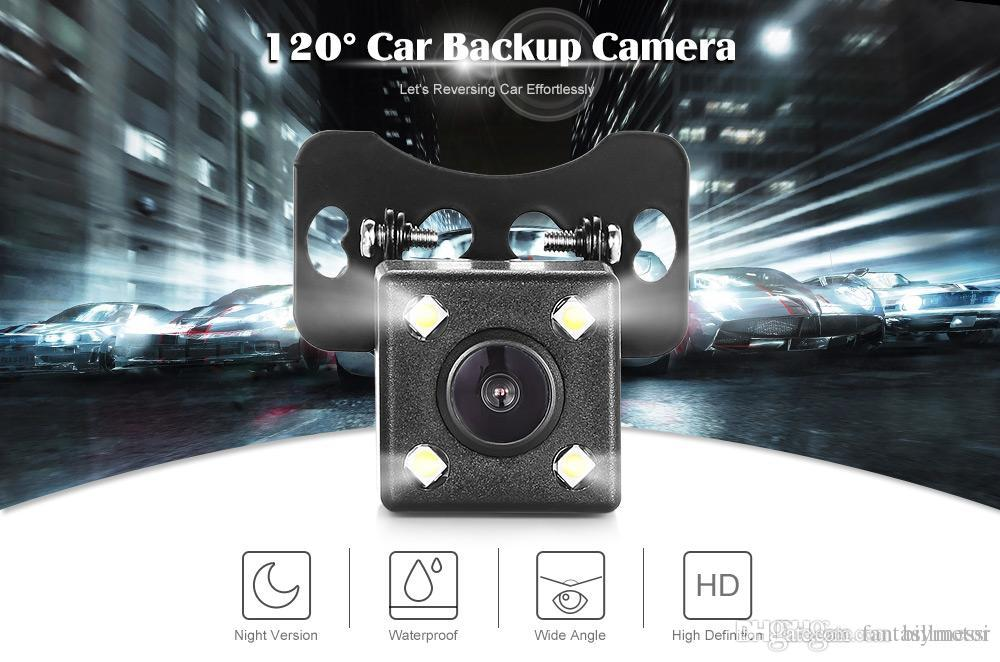Car Reverse Parking Rear View Camera Mini Universal 4 LED 120 Degree Night Vision with Waterproof Feature for Backup Monitor +B