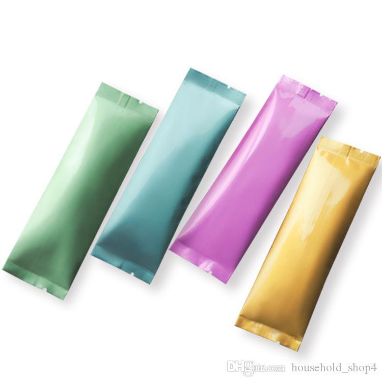Три стороны печать дизайн сумки чистая алюминиевая фольга 15 * 3.5 см небольшой пакет молока чай порошок шовные мешки сахара пакеты мини-газа пробные мешки