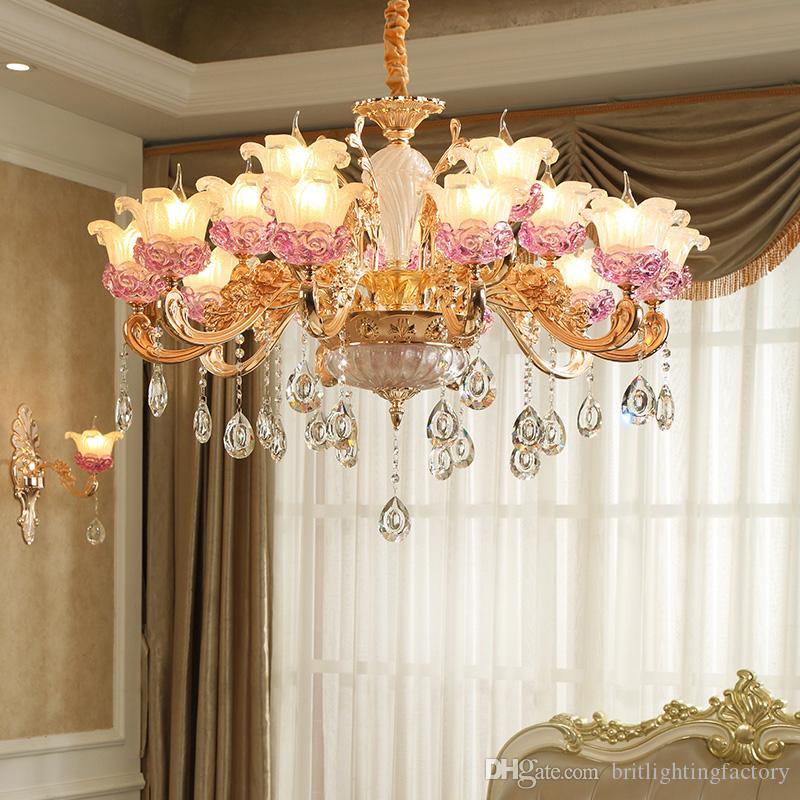 Candelabro europeu de iluminação moderna lâmpadas de cristal pingente para sala de estar led lâmpada de cristal hotel liga de zinco de ouro de cristal lustres de vidro