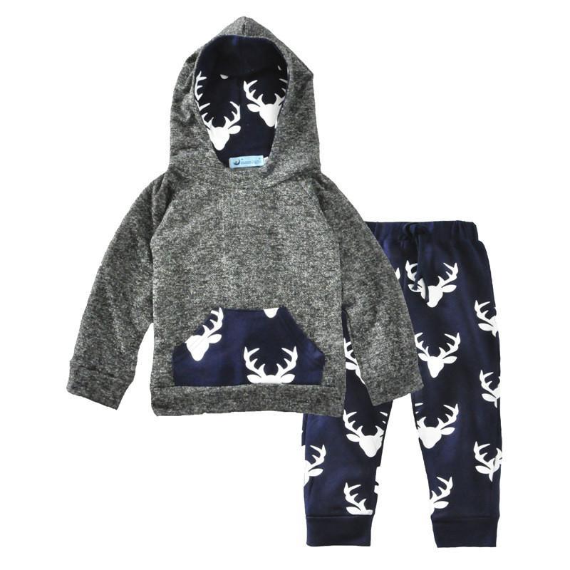 바지 2 조각 복장 패션 키즈 의류와 새로운 도착 아기 소년 의류 세트 어린이 사슴 인쇄 후드 스웨터