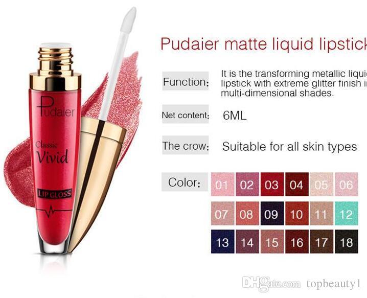 Yeni Makyaj Pudaier Dudak parlatıcısı 18 Renk Glitter Çevirme Klasik canlı Dudak Parlatıcısı Pearlit Mat Glitter Sıvı ruj DHL