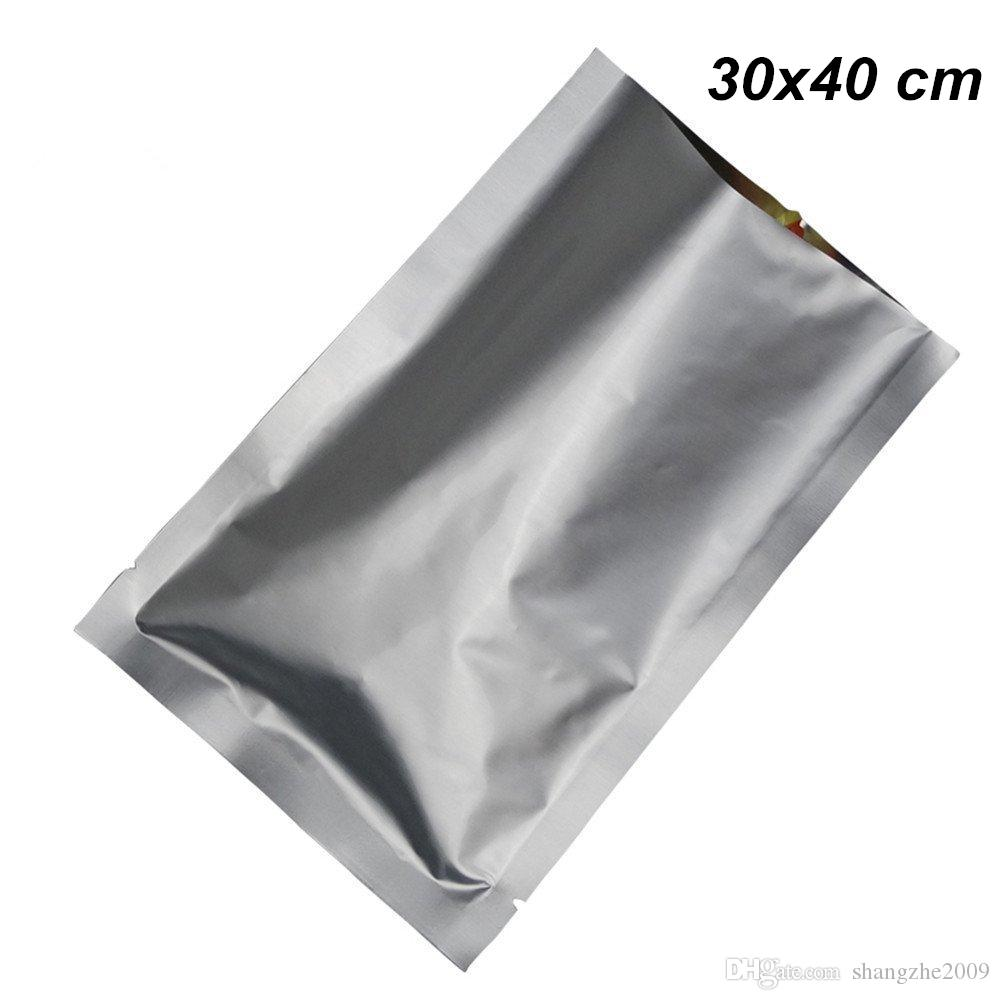 30x40 cm Silver Pure Aluminum Foil Heat Seal Vacuum Open Top Food Grade Packing Bags for Coffee Tea Powder Foil Vacuum Heat Seal Mylar Pouch