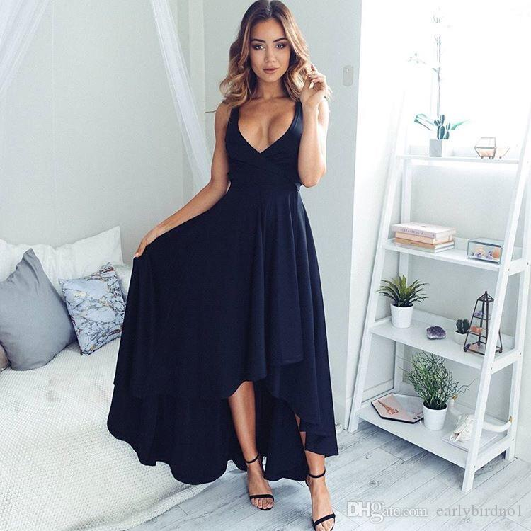2018 Sexy Deep V Neck Chiffon Navy Blue