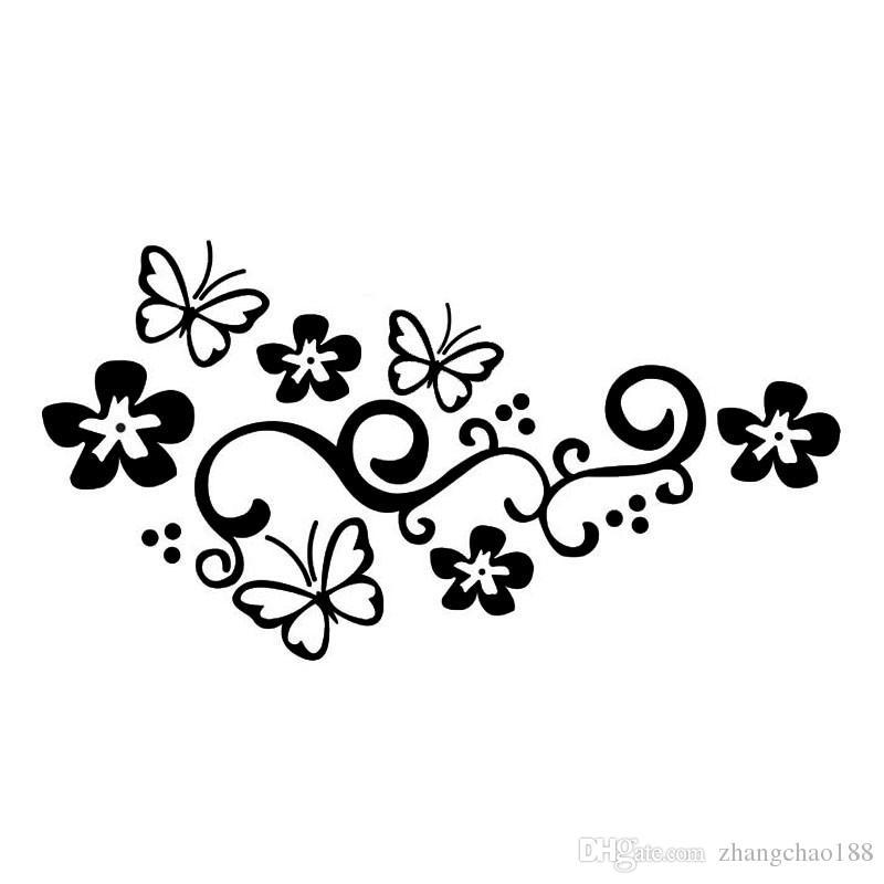 20 * 10.5CM Sportello d'auto decalcomanie decorative farfalla e fiori del vinile di modo riflettente autoadesivi nero / argento CA-313