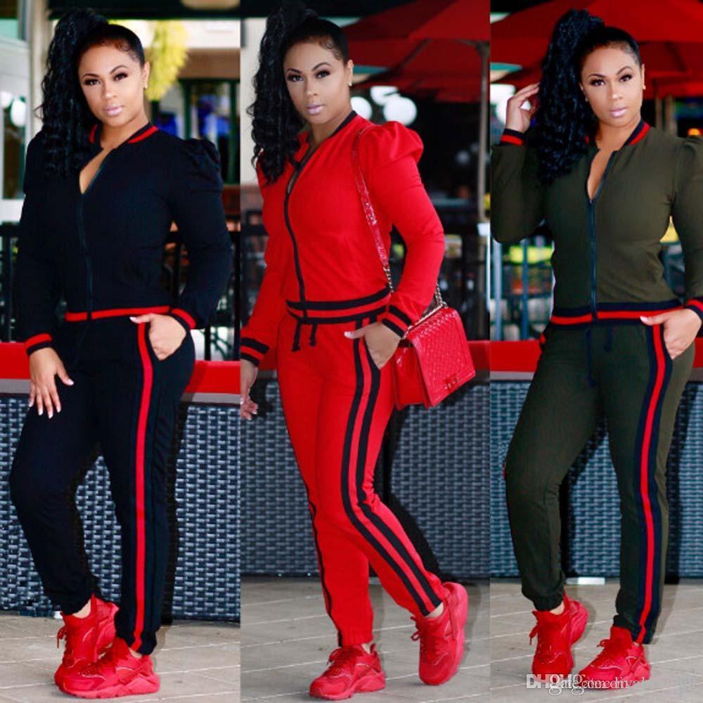 2018 Sonbahar bayan Artı boyutu Rahat Moda Uzun Kollu Iki parçalı Jogger Seti Bayanlar Eşofman Ter Suits