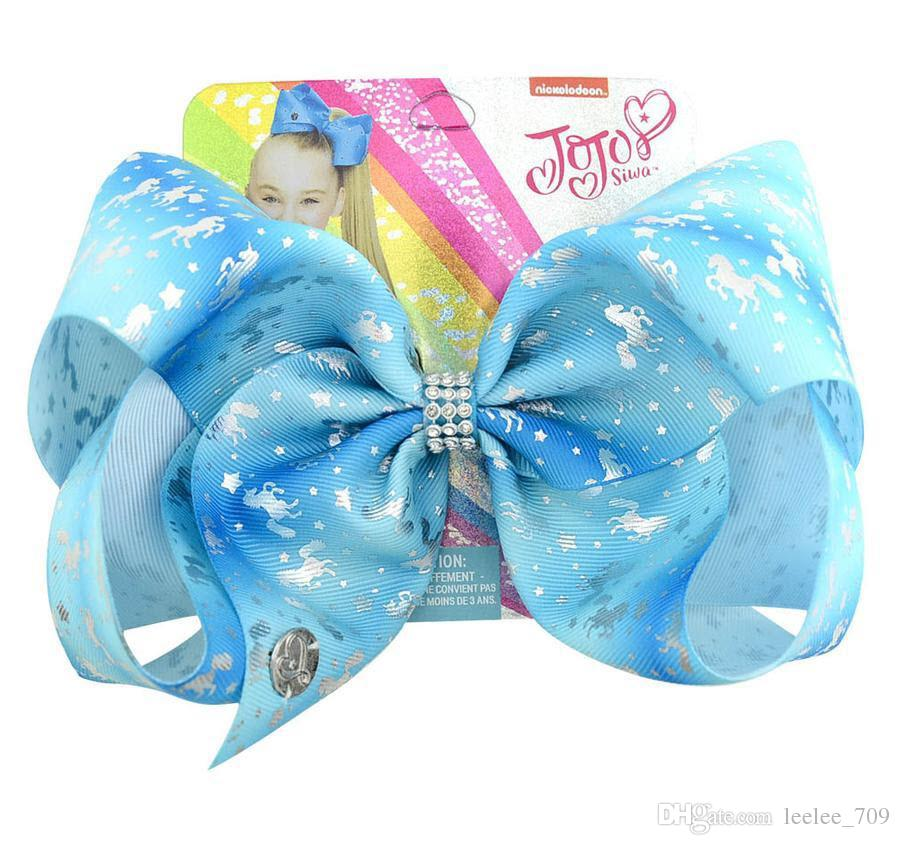 JOJO SIWA 20cm LARGE Unicorn 14Style HAIR BOWS With Paper Card And Sequin Logo Gaby Girl Children Hair Accessories fashion hair clip