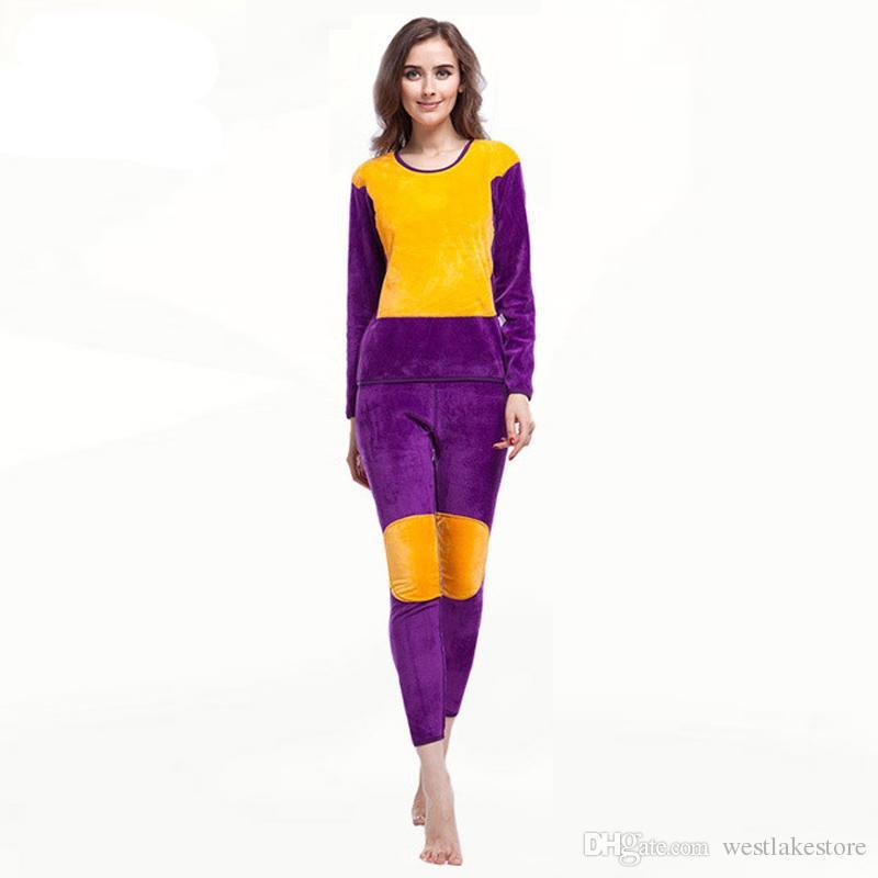 Ropa interior térmica mujeres Invierno Plus Grueso Terciopelo Long Johns Lovers pantalón de mujer y traje superior ropa de abrigo púrpura rojo negro