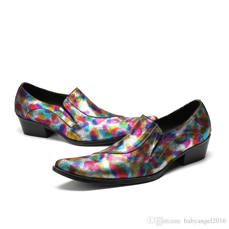 Chaussure homme Herren-Schuhe aus echtem Leder klassische elegante Männer Anzug Schuhe Mischfarbe Beleg onmüßiggänger plus Größe Schuh letzten