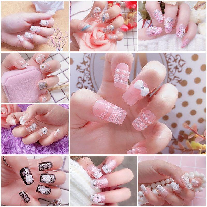 3D Fake Nails Cute French False Nails Middle-long Full Nail Tips Bride Nail Art Tool Nail Makeup
