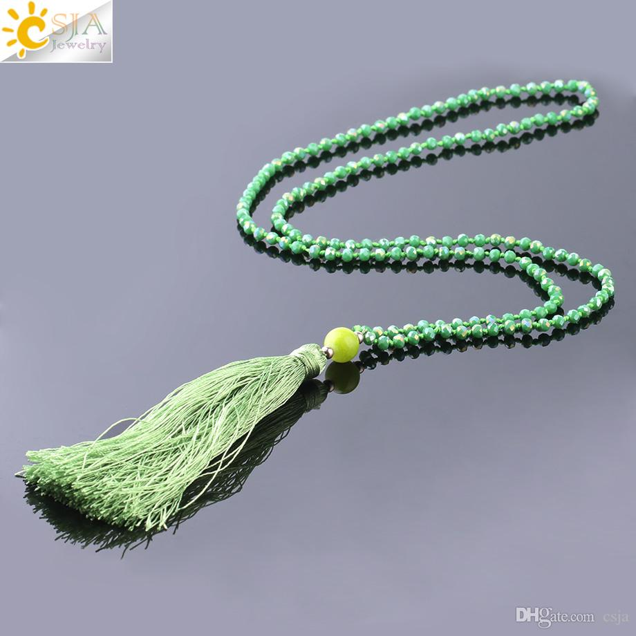 CSJA 89cm Long Statement Necklace for Women Silk Tassel Glass Beads Crystal Knot Necklaces 7 Color Plated Mala Bead Fringe Jewelry S237