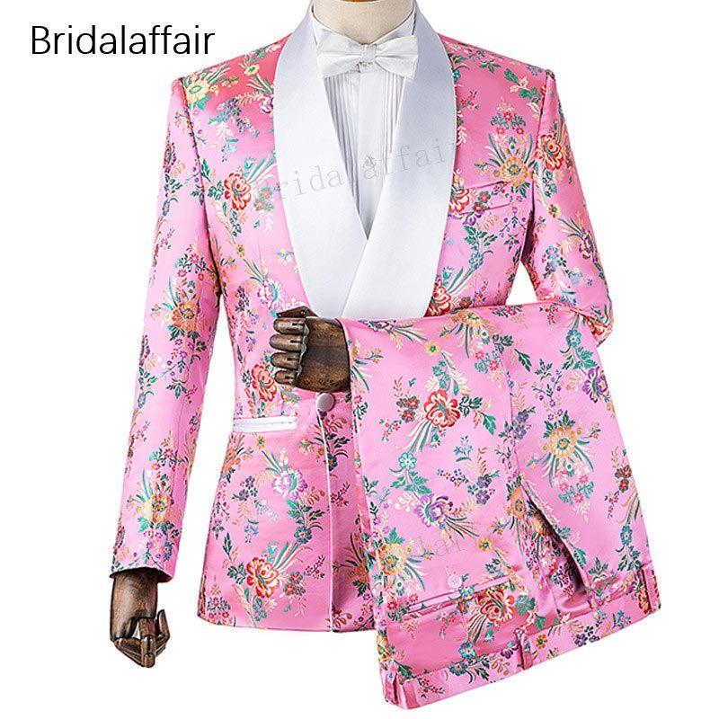 Gwenhwyfar Yeni Tasarımlar Custom Made Damat Smokin Pembe Çiçek Baskılı Erkekler Düğün Suit Mens Suit Set 2 Adet 2018 Suits (Ceket + Pantolon)