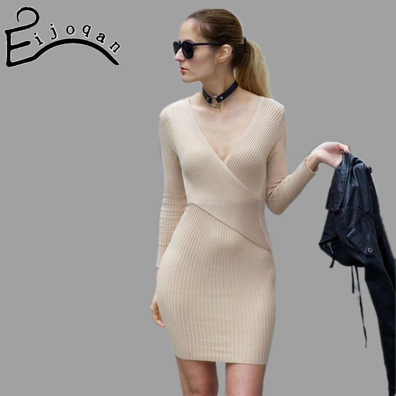 10 цветов сексуальная v-образным вырезом пакет хип женщин длинный свитер с длинным рукавом женщины dress 2018 зима трикотажные dress женщины свитера пуловеры