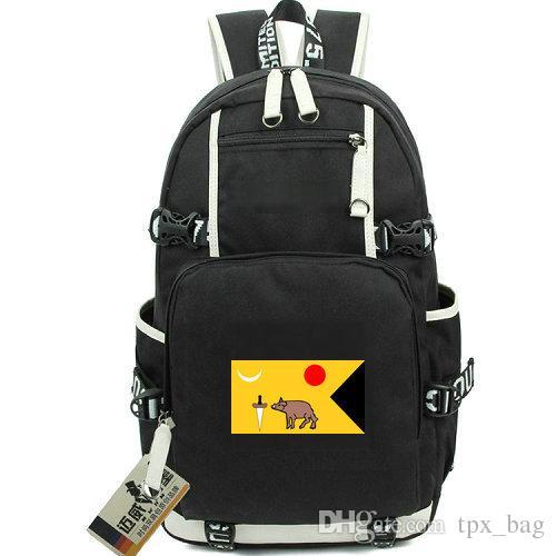 Vijayanagara daypack Union backpack flag schoolbag Pig knife banner rucksack Canvas school bag Outdoor day pack